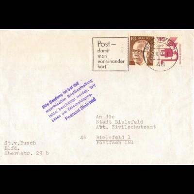 BRD 1975, Briefautomation, beschädigter Brief Bielefeld m. Hinweis Stempel. #881