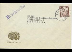 DR, EF 3 Pf. auf Drucksache Brief m. K1 Eibsee u. Hotel Goldprägung.