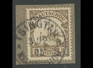 Kiautschou, 3 C. auf Briefstück m. Stpl. Tsingtau a