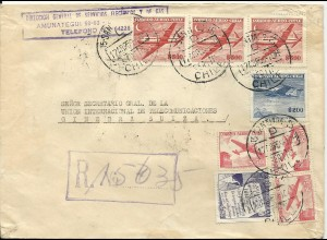 Chile 1959, Einschreiben Brief m. 8 Marken i.d. Schweiz. Adresse!