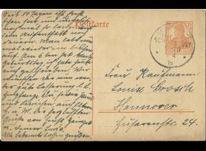 DR 1918, KD Marine Schiffspost No. 79 auf Ganzsache v. Wilhelmshaven