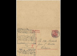 DR P113, 10+10 Pf. Doppel Ganzsache, 1919 auslandsgebr. v. Manebach i.d. Schweiz