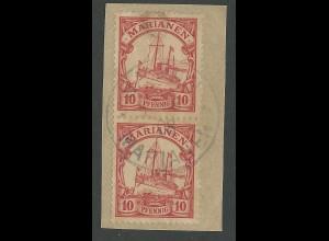 Marianen Nr.9, Paar 10 Pf. auf Briefstück m. Stpl. SAIPAN 1908