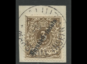 Marshall-Inseln Nr.7, 3 Pf. auf Briefstück m. Stpl. Jaluit.