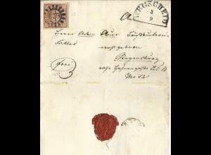 Bayern, MR 375 Wegscheid auf Brief m. 3seitig breitrandiger 6 Kr.