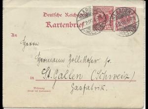 DR 1900, 10 Pf. Zusatzfr. auf 10 Pf. Karten Brief v. Gaarde i.d. Schweiz