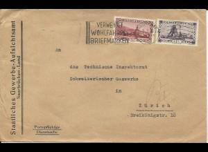 Saargebiet 1933, 50 C. +1 Fr. auf Dienstsache Brief v. Saarbrücken i.d. Schweiz