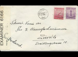 USA 1942, cover from Urbana Ill. m. Bermuda I.C. Zensur i.d. Schweiz