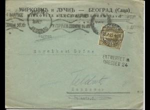 Jugoslawien 1923, Dresden Nachentwertung auf Brief m. 2 D. v. Belgrad