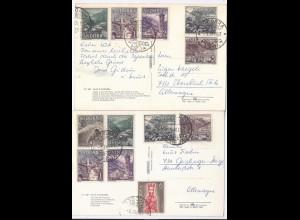 Andorra 1967, 2 attraktiv frankierte Postkarten n. Deutschland. #1667