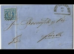 Bayern 1864, breitrandige 6 Kr. auf Brief m. MR 446 Rottenburg