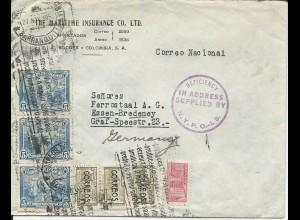 """US Stempel """"Deficiency In Adress Supplied by N.Y.P.O."""" auf Kolumbien Brief"""