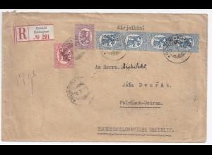 Finnland Tschechoslowakei 1919, Einschreiben Brief v. Helsinki m. 6 Marken #1000
