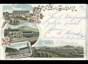 Goslar, 1898 gebr. Litho AK m. Bahnhof