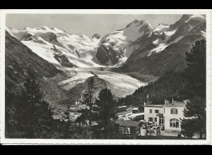 Schweiz, Hotel Morteratsch m. Bernina Gletscher, Graubünden, ungebr. sw-AK
