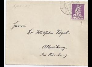 Bayern 1920, 20 Pf. m. Plattenfehler 181 III auf Brief v. Regensburg. #1087