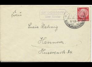 DR 1939, Bredelem über Goslar, Landpost Stempel auf Brief m. 12 Pf.
