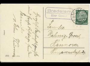 DR 1938, Bredelem über Goslar, Landpost Stempel auf Weihnachten AK m. 6 Pf.