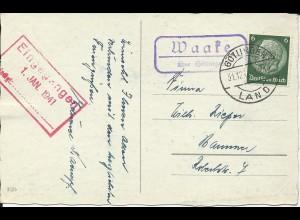 DR 1940, Waake über Göttingen, Landpost Stempel auf Neujahr AK m. 6 Pf.
