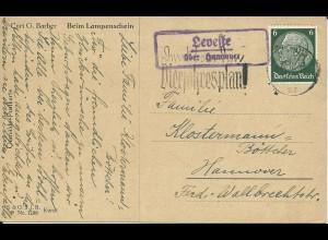 DR 1936, Leveste über Hannover, Landpost Stempel auf Karte m. 6 Pf.