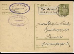 DR 1932, Eyershausen über Alfeld (Leine), Landpost Stempel auf 6 Pf. Ganzsache