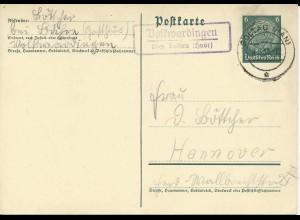 DR 1938, Volkwardingen über Soltau (Hnvr), Landpost Stempel auf 6 Pf. Ganzsache