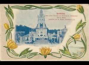 Dresden 1900, Dt. Bau Ausstellung, ungebr. offizielle AK m. Vignette
