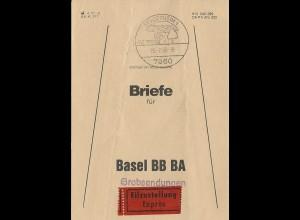 BRD 1986, Brief Bund Fahne f. Eilboten Grobsendungen v. Schopfheim i.d. Schweiz