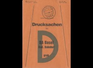Jestetten 1, Brief Bund Fahne Drucksachen f. BA Basel Bad. Bahnhof.