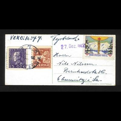 Schweden DR 1922, Neujahrs AK v Ängelholm m. 5+15 öre u. Spenden Vignette. #1111