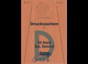 Albbruck, Brief Bund Fahne f. Drucksachen f. BA Basel Bad. Bahnhof.