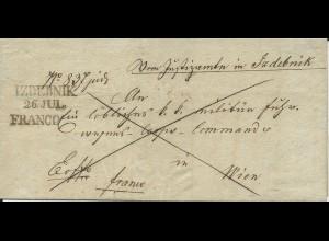 Österreich 1843, Polen-L2 IZDEBNIK u. L1 FRANCO klar auf Brief n. Wien
