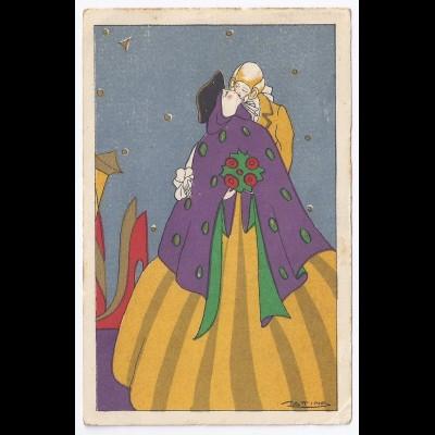 "Italien 1930, Künstlerkarte ""Cattina"", v. Palermo gebr. Farb AK. #1341"
