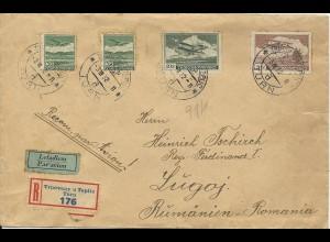 Tschechoslowakei 1932, 4 Marken auf Reko Luftpost Brief v. Turn n. Rumänien