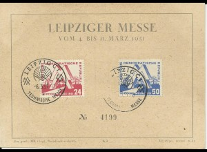 DDR 1951, 24+50 Pf. auf Leipziger Messe Ereigniskarte