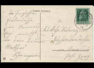 Bayern 1913, K1 Feldkirchen b. Muenchen klar auf Kitsch Karte