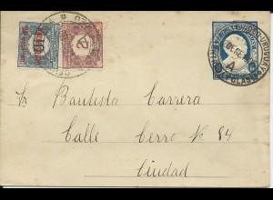 Uruguay 1905, 2+1/10 C. Provisorio Porto Marken auf Ganzsache Brief v Montevideo