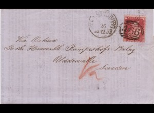 GB Sweden 1859, 1 P. auf Falt Drucksache Brief v. Liverpool via Hamburg. #40