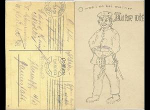 1910 v. Ulm gebr. Soldaten AK. Heimweh.