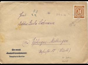 """SBZ 1946, L2 Notstempel """"2 Teupitz Kr. Teltow"""" in violett auf Brief m. 24 Pf."""