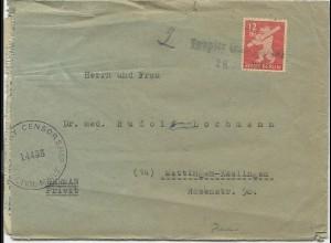SBZ 1946, L1 Notstempel Teupitz (Kr. Teltow) auf Zensur Brief m. 12 Pf. Bär