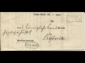 Preussen 1861, R2 Cosel u Beamten Stpl. auf Amts-Formular Brief n. Rybnik.
