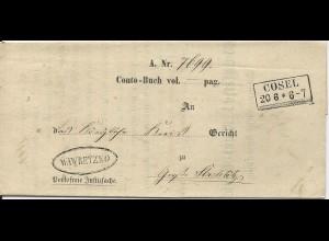 Preussen 1865, R2 Cosel u. Beamten Stpl. Wawretzko auf Formular Amts Brief