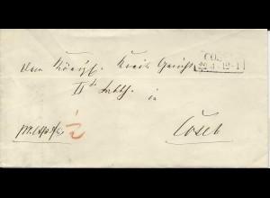 "Preussen, R2 Cosel auf Orts Brief m. ""pr.exp fr 1/2"""