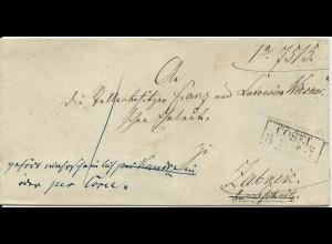Preussen 1857, R2 Cosel auf Nachsende Porto Brief n. Zabnik.