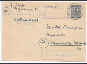 1946, Ganzsache v. Werzhausen m. signifik. Abart Falte durch Wertstempel. #1673