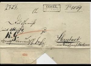Preussen, R2 Cosel auf Paket Begleit Brief n. Sachsen.