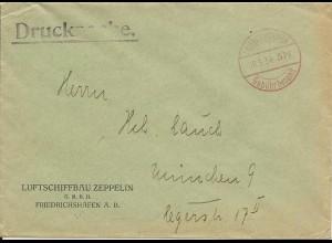 DR 1934, Luftschiffbau Zeppelin, Firmen Umschlag m. Freistempel Friedrichshafen