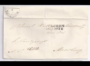 Bayern 1863, L2 München auf Brief n. Moosburg m. rs. HKS. #1354