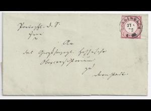 DR 1872, Ablöser K1 Gladenbach ideal auf schönem Brief m. 1 Gr. #1150
